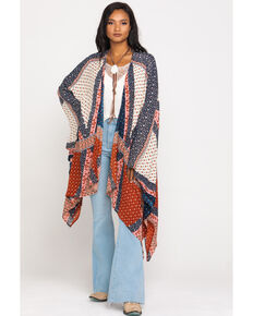 Patrons of Peace Women's Patchwork Kimono, Red/white/blue, hi-res