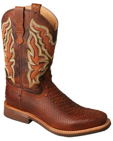 Twisted X Women's Brandy Python Print Western Boots - Wide Squre Toe, Tan, hi-res