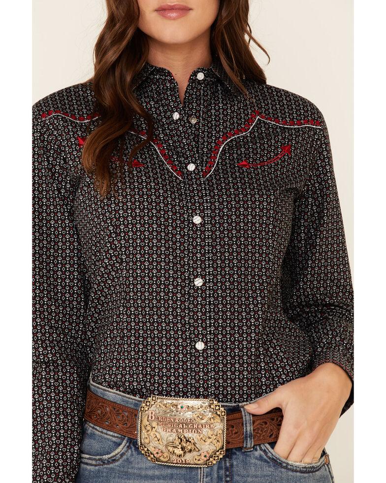 Panhandle Women's Card Geo Print Embroidered Long Sleeve Western Shirt , Black, hi-res