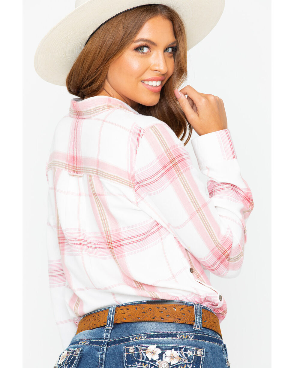 Shyanne Women's Plaid Button Side Flannel Long Sleeve Western Shirt , Blush, hi-res