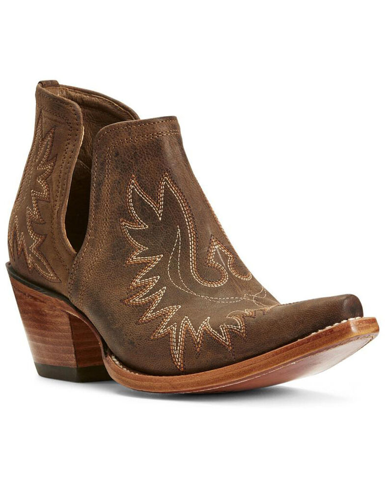 Ariat Women's Dixon Weathered Western Booties - Snip Toe, Brown, hi-res
