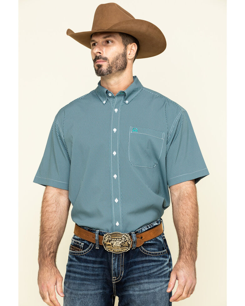 Cinch Men's Arena Flex Multi Small Geo Print Short Sleeve Western Shirt , Multi, hi-res