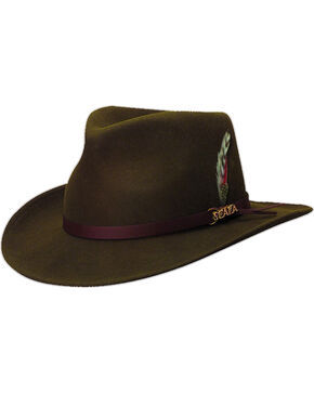 Scala Men's Olive Green Crushable Wool Felt Outback Hat, Olive, hi-res