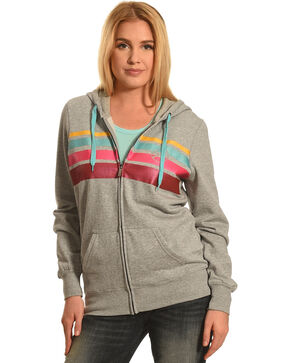 HOOey Women's Grey Stripe Chest Full Zip Hoodie , Grey, hi-res