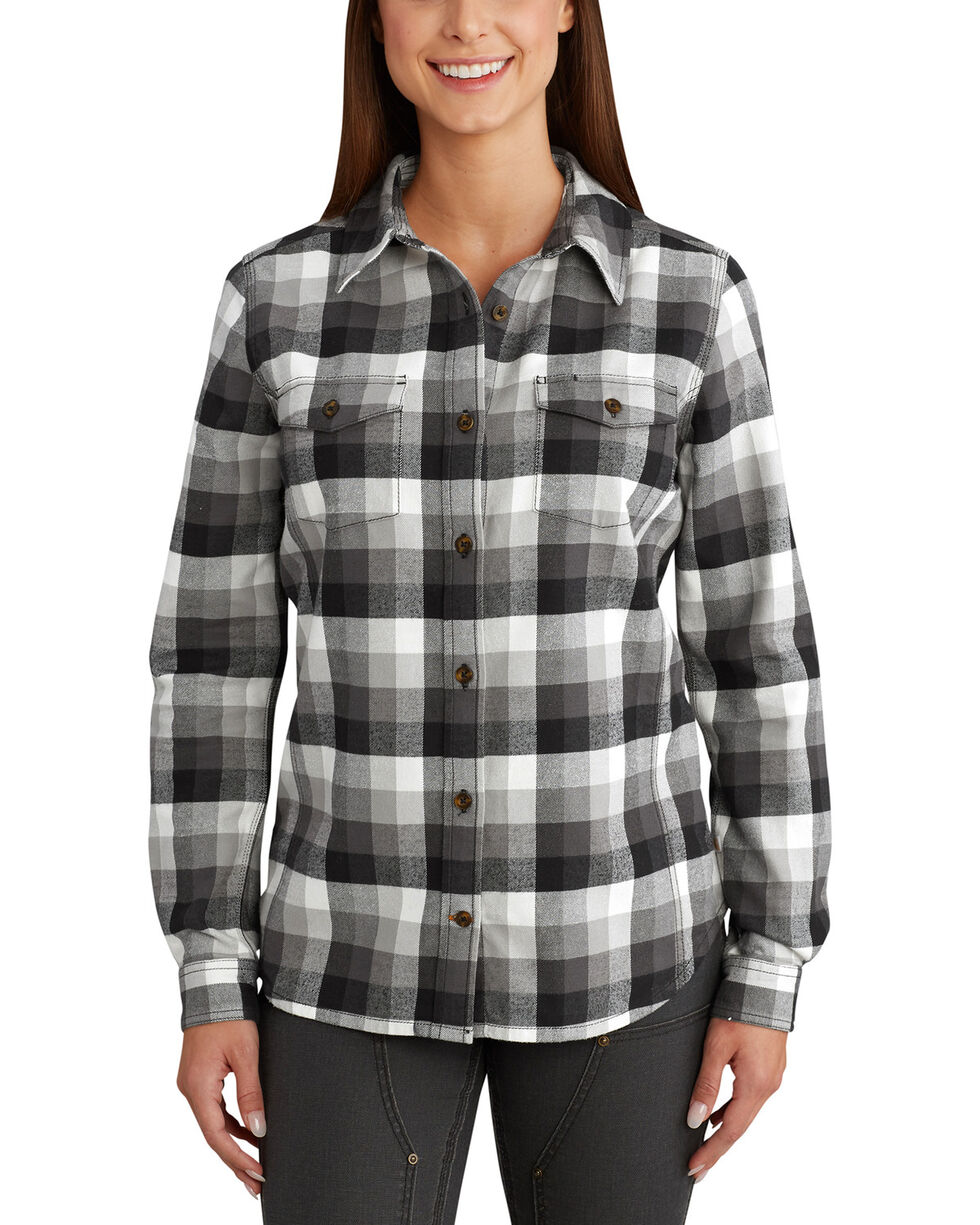 Carhartt Women's Plaid Long Sleeve Shirt, Black, hi-res