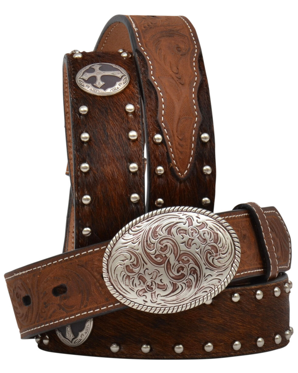 3D Boys' Brindle Hair Cross Concho Buckle Belt, Tan, hi-res