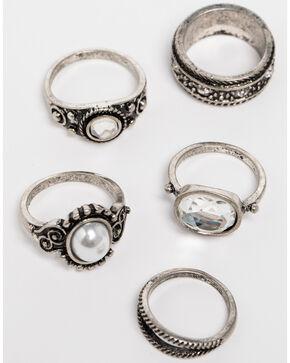 Shyanne Women's Crystal Cross Multi Ring Set, Silver, hi-res