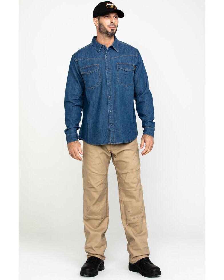 Hawx® Men's Stonewashed Denim Snap Long Sleeve Work Shirt , Blue, hi-res