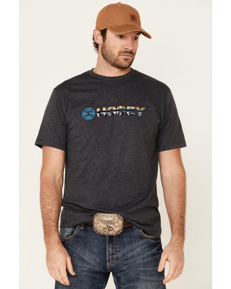HOOey Men's Charcoal Aztec Lock-Up Logo Short Sleeve T-Shirt , Charcoal, hi-res