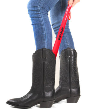"Boot Barn® 18"" Curved Boot Horn, Red, hi-res"