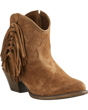 Ariat Women's Tan Duchess Braided Fringe Booties - Medium Toe, Tan, hi-res