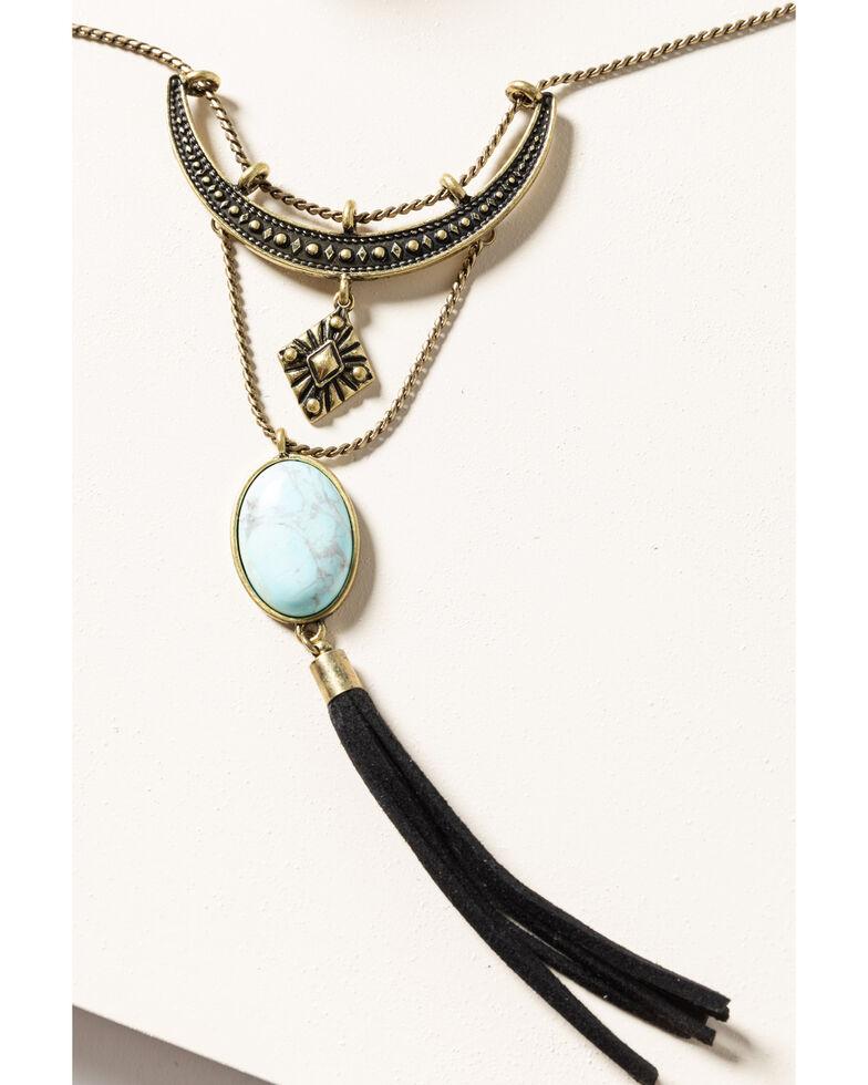 Shyanne Women's Gilded Gold Leather Tassel Set, Gold, hi-res