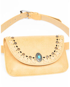 Shyanne Women's Taupe Turquoise Concho Belt Bag, Taupe, hi-res