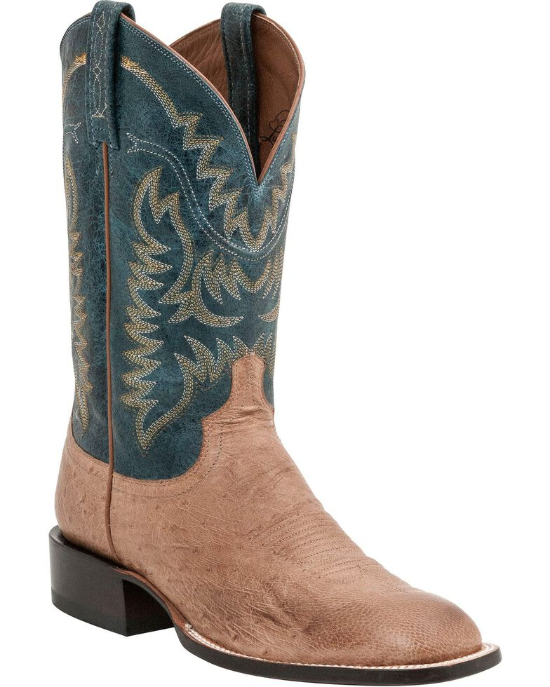 """Lucchese Men's 13"""" Burt Square Toe Ostrich Western Boots, Tan, hi-res"""