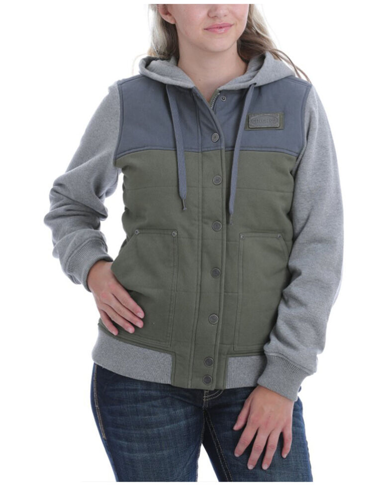 Cinch Women's Women's Olive Color-Blocked Canvas Hooded Sweatshirt , Olive, hi-res