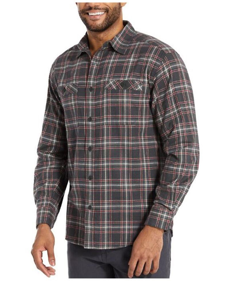 Wolverine Men's Grayson Plaid Stretch Flannel Long Sleeve Work Shirt , Charcoal, hi-res