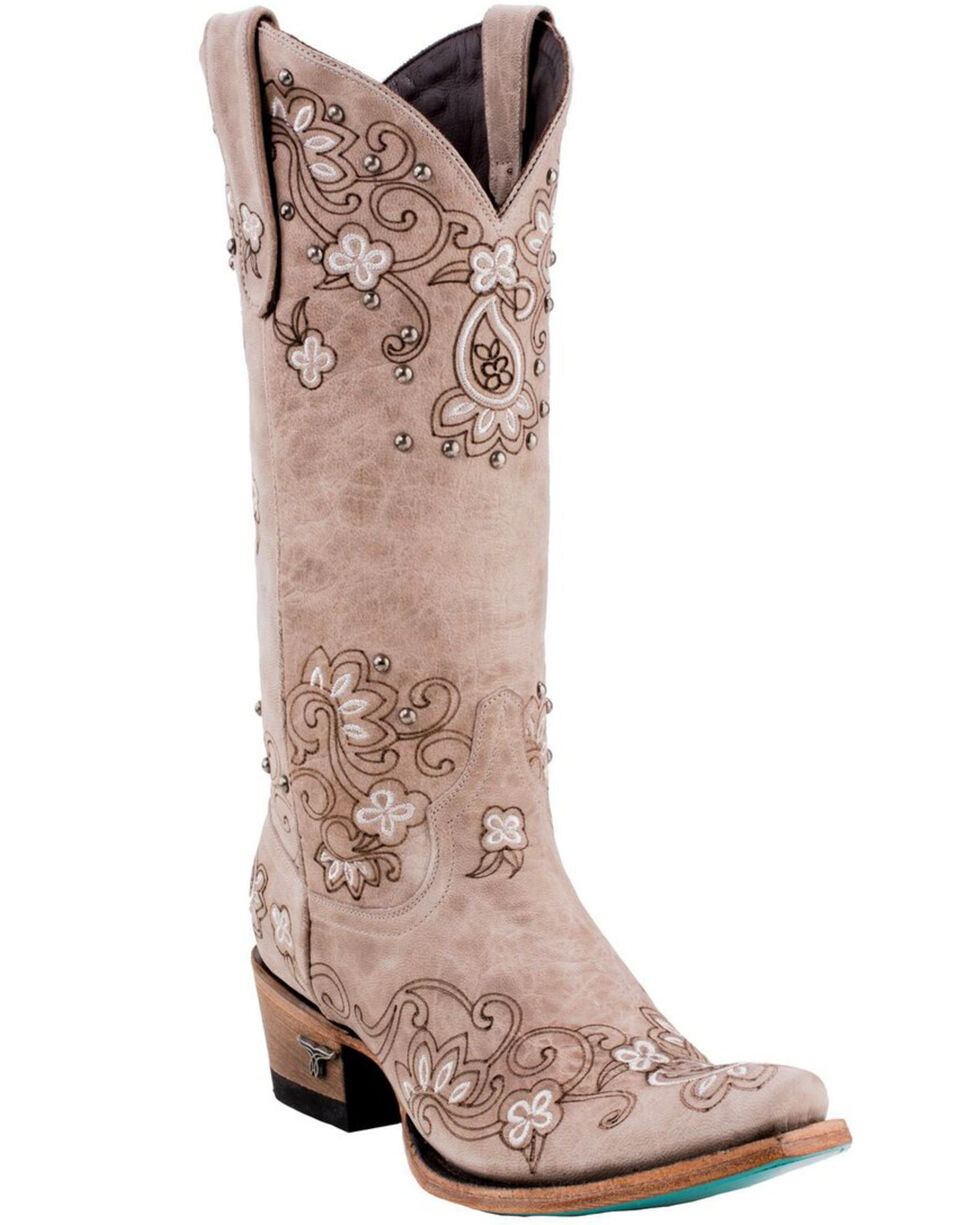Lane Women's Sweet Paisley Cowgirl Boots - Snip Toe , Natural, hi-res