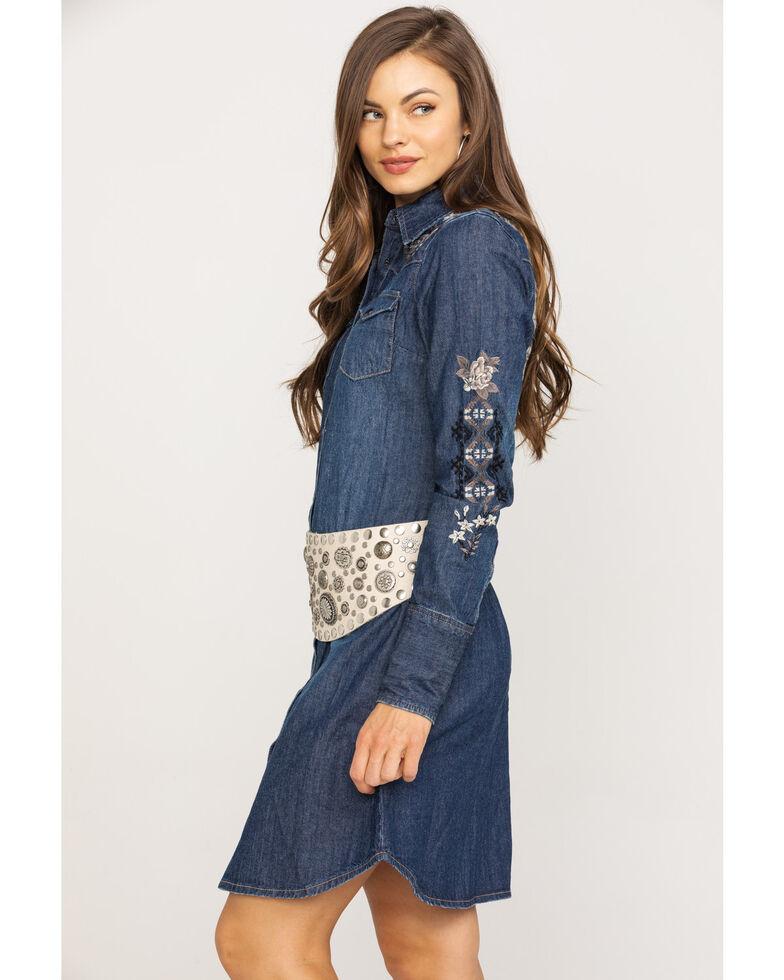 Stetson Women's Rose Embroidered Denim Dress, Blue, hi-res