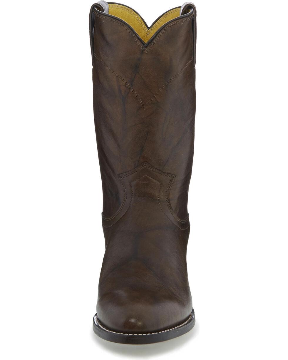 Justin Men's Deerlite Roper Western Boots, Dark Brown, hi-res