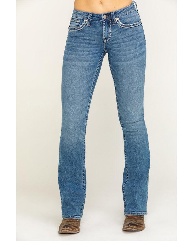 Shyanne Women's Light Wash Scroll Bootcut Jeans, Blue, hi-res