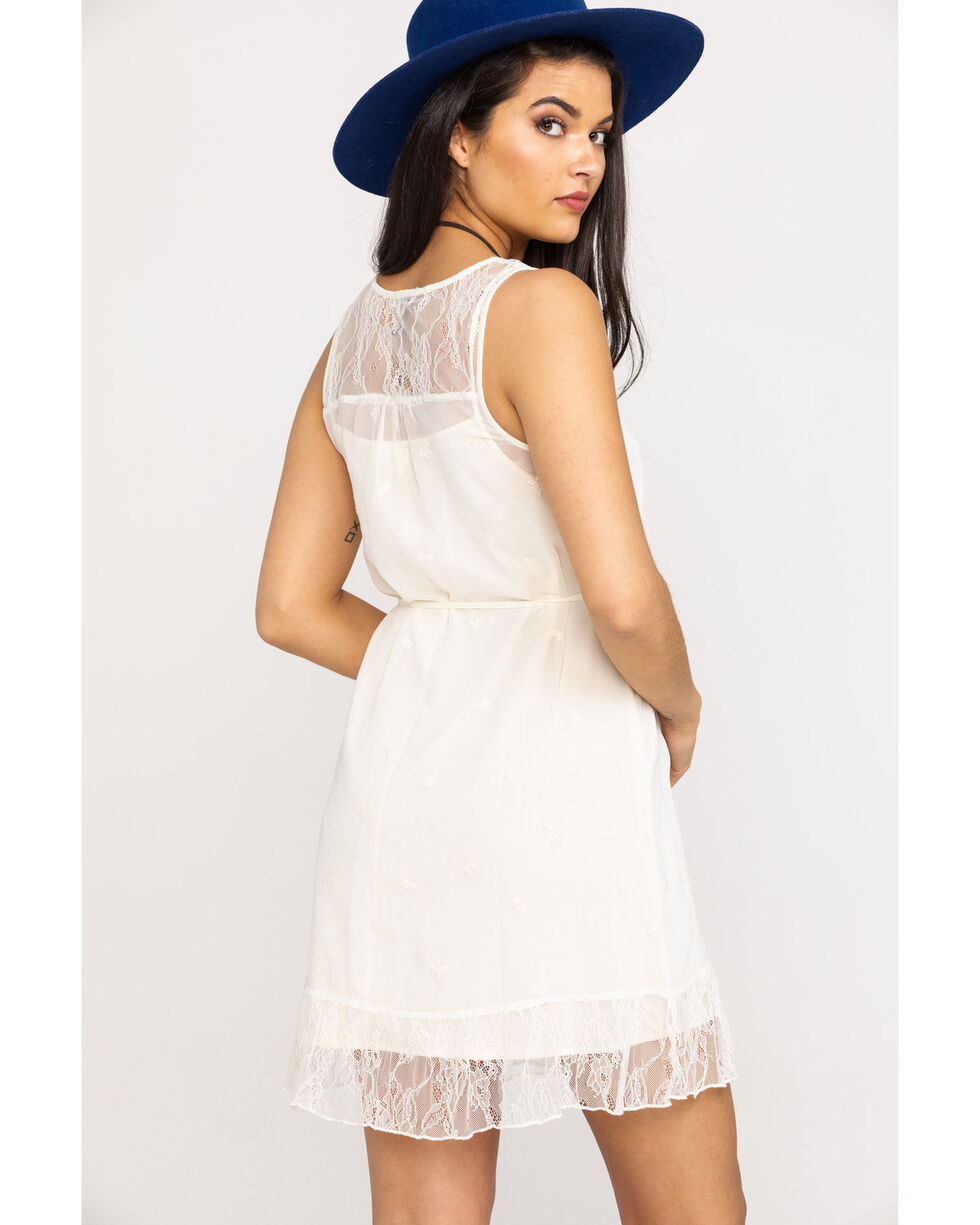 Black Swan Women's Ivory Embroidered Lace Chiffon Dress, Ivory, hi-res