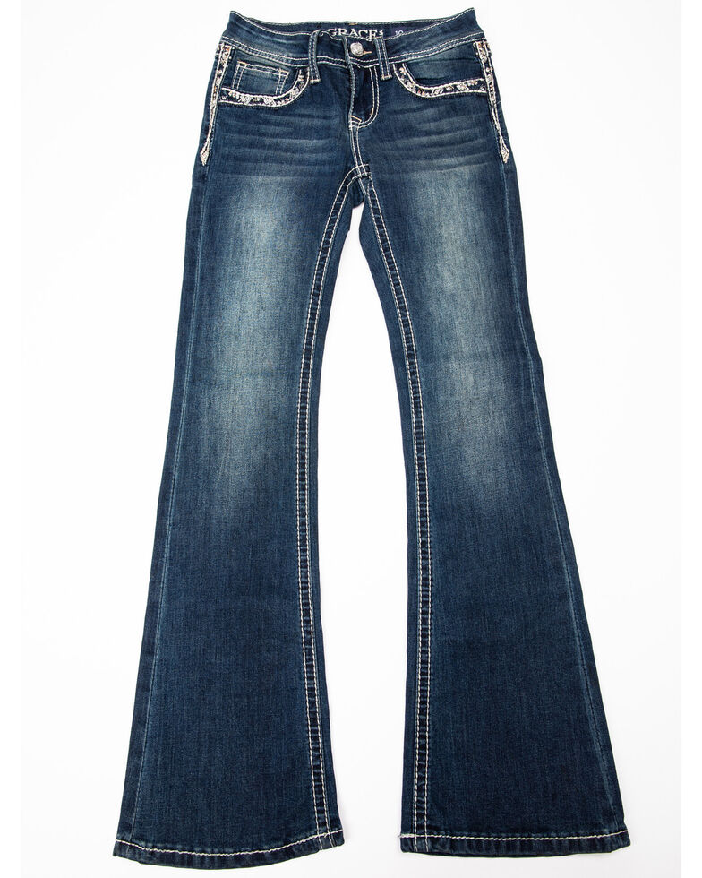 Grace in LA Girls' Embroidered Bootcut Jeans, Blue, hi-res
