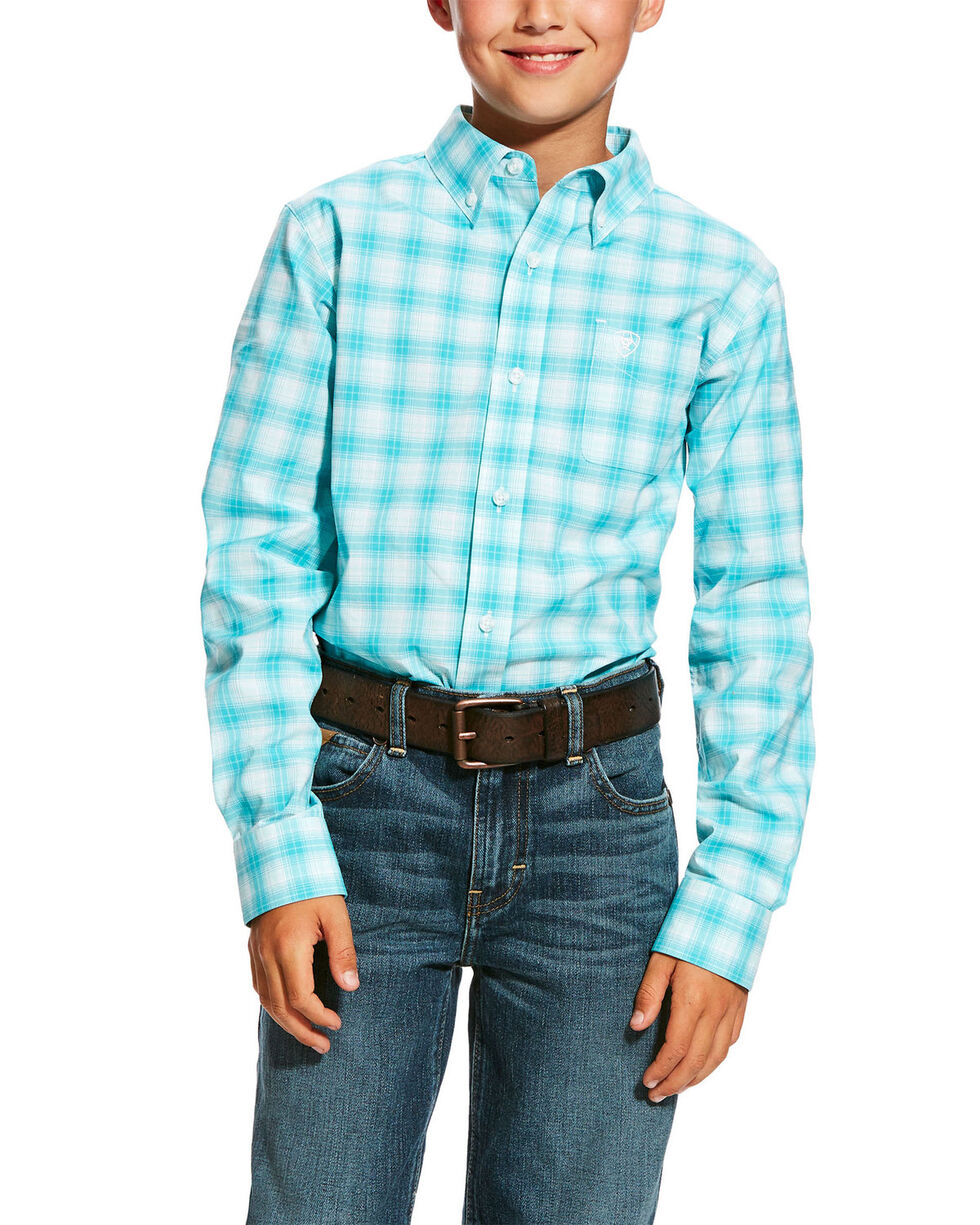 Ariat Boys' Harry Stretch Plaid Long Sleeve Western Shirt , White, hi-res