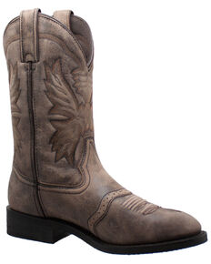 Ad Tec Men's Stonewashed Leather Western Boots - Round Toe, Brown, hi-res