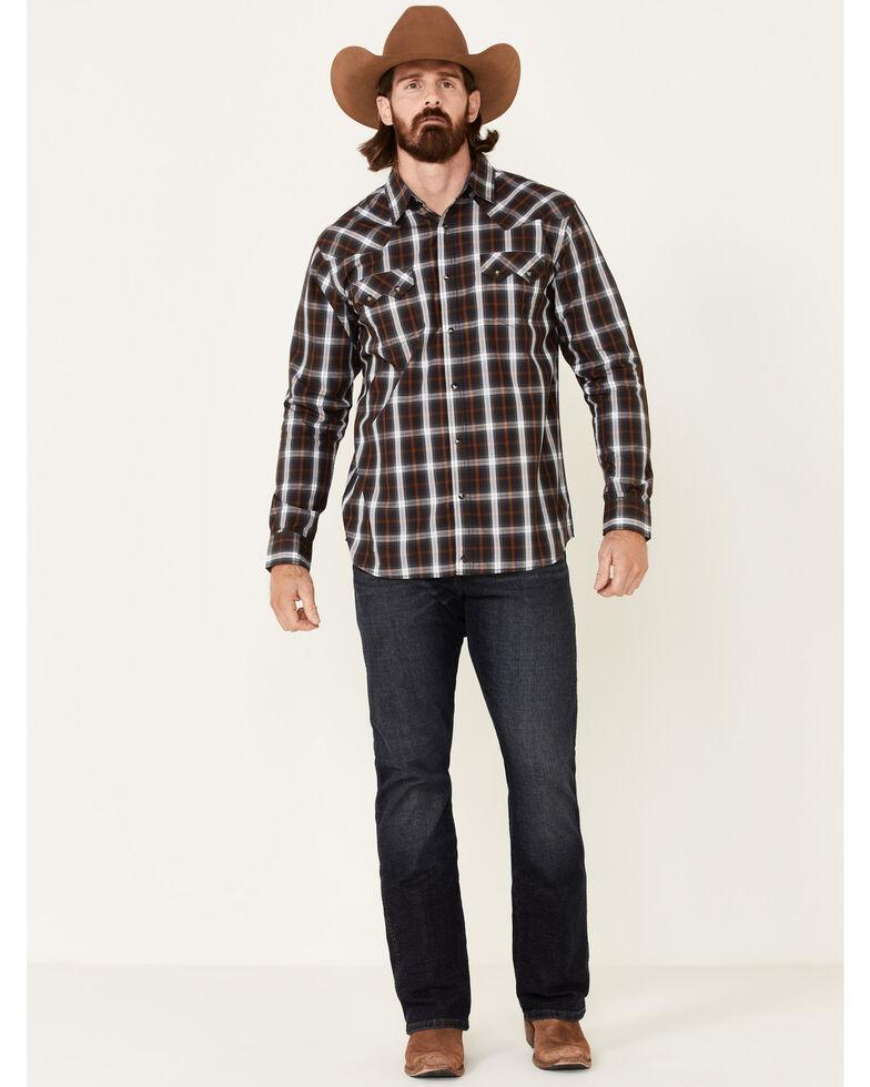 Moonshine Spirit Men's Hogwash Small Plaid Long Sleeve Snap Western Shirt , Blue, hi-res