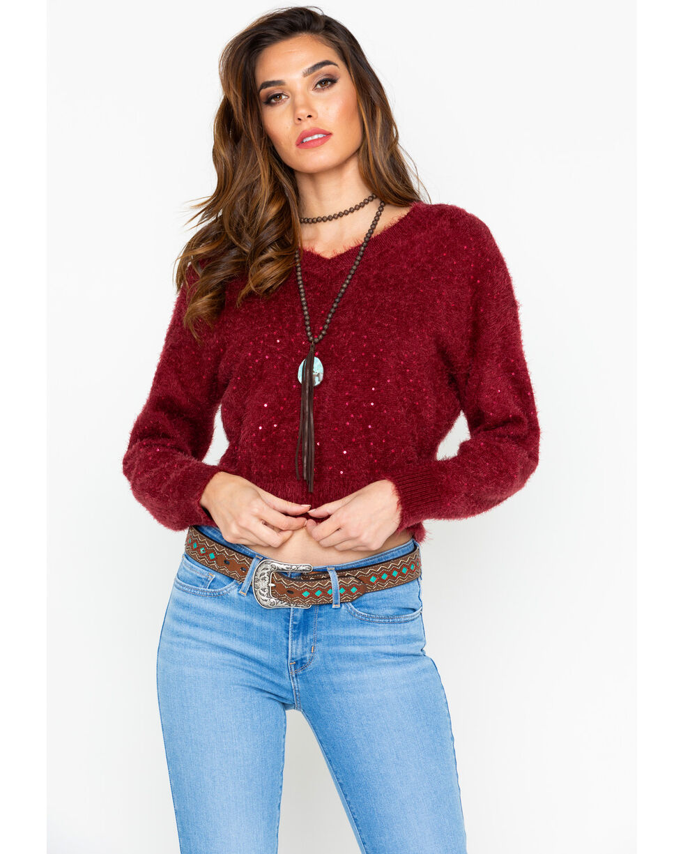 Shyanne Women's Eyelash Sequin Pullover Sweater , Burgundy, hi-res