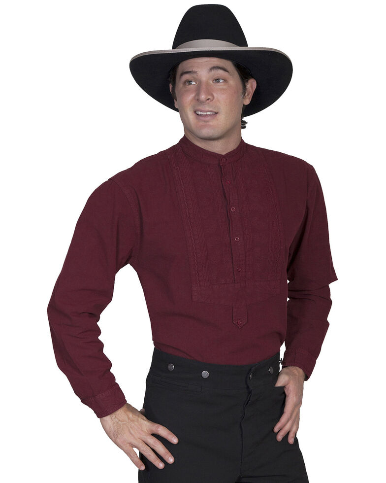 Rangewear by Scully Inset Paisley Bib Frontier Shirt, Burgundy, hi-res
