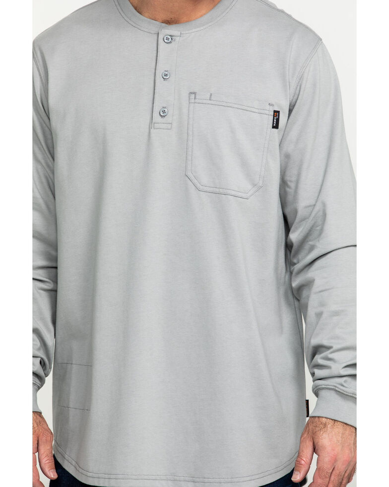 Hawx Men's Men's Flame Resistant Pocket Henley Long Sleeve Work Shirt , Silver, hi-res