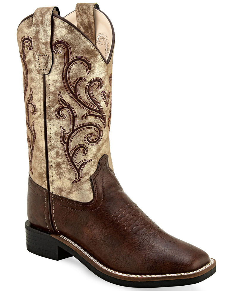 Old West Girls' Metallic Western Boots - Wide Square Toe, Brown, hi-res