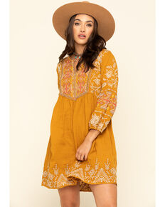 Johnny Was Women's Mustard Chai Paris Dress, Mustard, hi-res