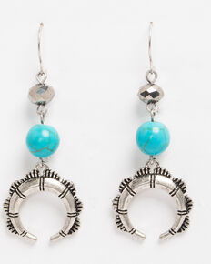 Shyanne Women's Crescent Beaded Linear Earrings, Silver, hi-res