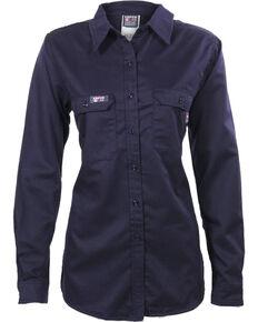 Lapco Women's Navy FR UltraSoft Uniform Shirt , Navy, hi-res