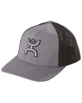 HOOey Youths' Grey Coach FlexFit Cap , Grey, hi-res