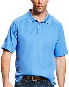 Ariat Men's AC Solid Short Sleeve Polo Shirt , Blue, hi-res
