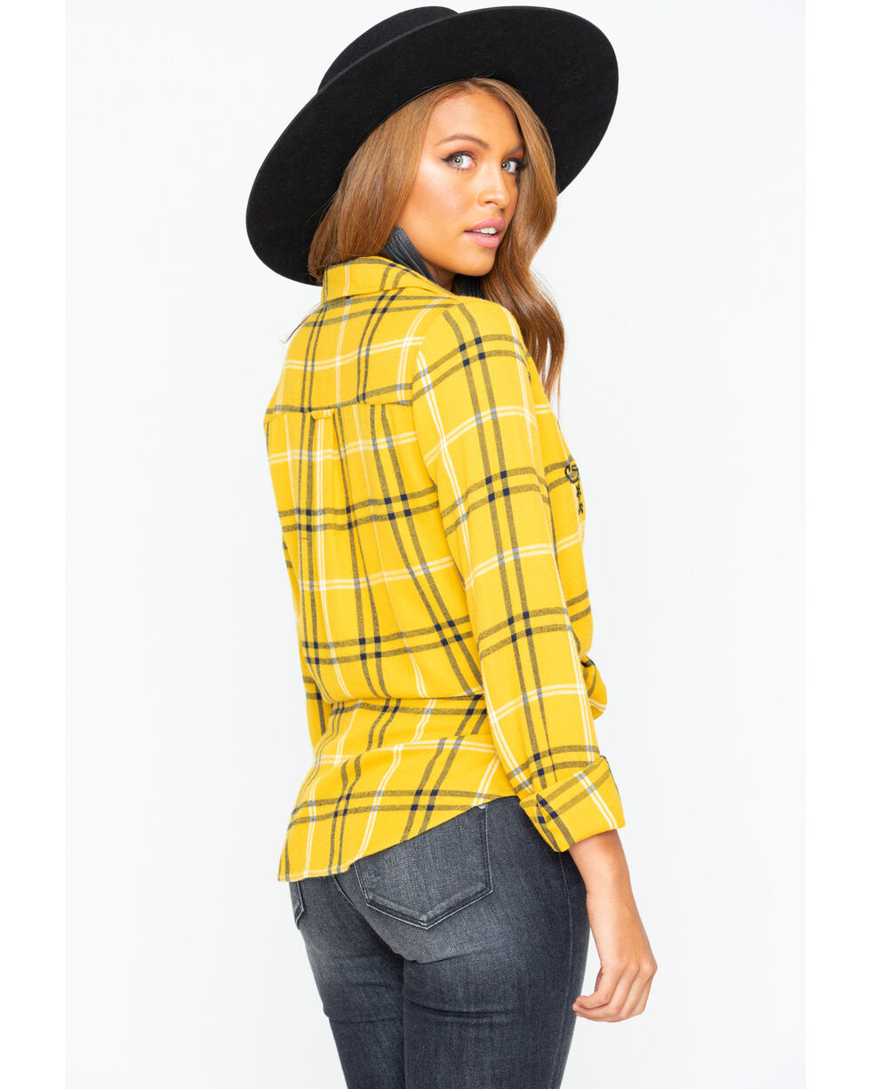 Shyanne Women's Plaid Embroidered Flannel Shirt , Dark Yellow, hi-res