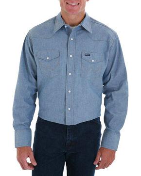 Wrangler Men's Cowboy Cut Work Chambray Shirt, Light/pastel Blue, hi-res