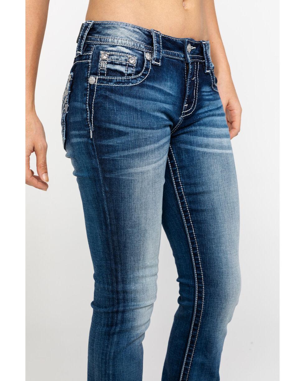 Miss Me Women's V-Pattern Embroidered Pocket Boot Jeans , , hi-res
