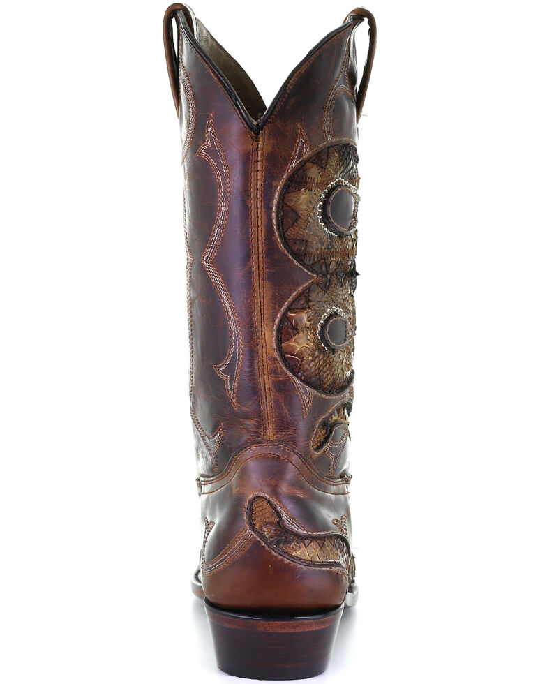Corral Men's Honey Python Inlay Western Boots - Snip Toe, Honey, hi-res