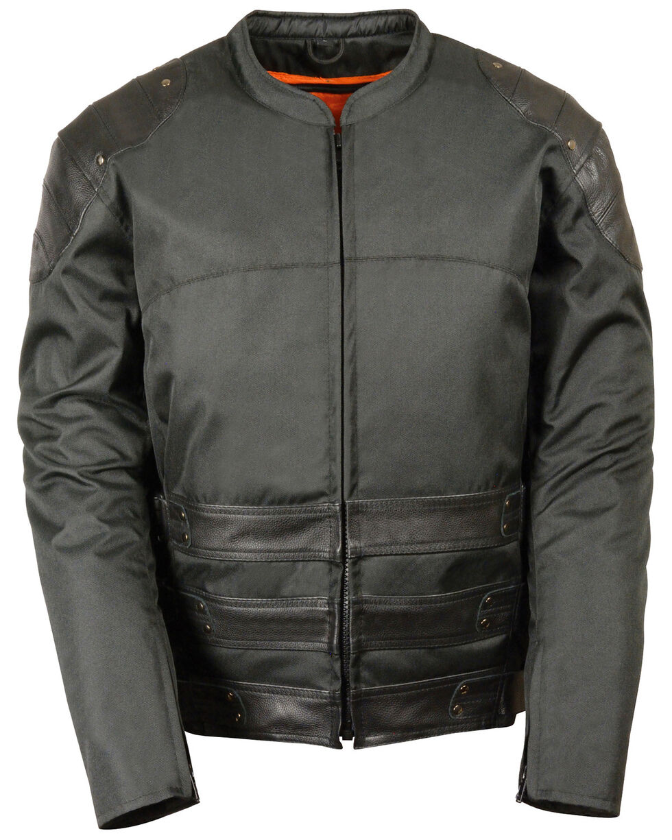 Milwaukee Leather Men's Assault Style Leather/Textile Racer Jacket - Big & Tall, Black, hi-res