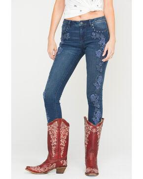 Miss Me Women's Budding Romance Mid-Rise Skinny Jeans , Indigo, hi-res