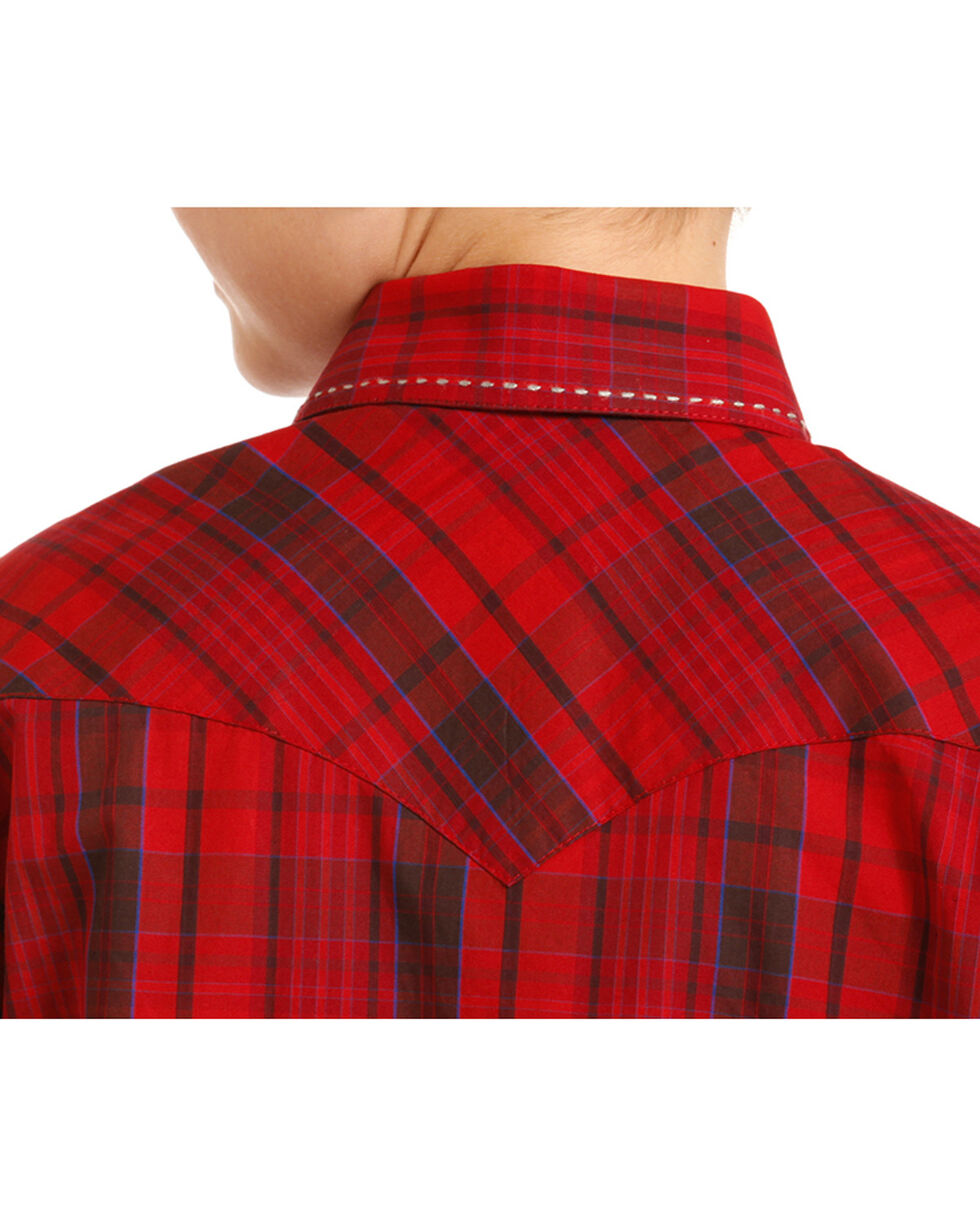 Rock & Roll Cowboy Boys' Red Plaid Saddle Stitch Long Sleeve Snap Shirt, Red, hi-res
