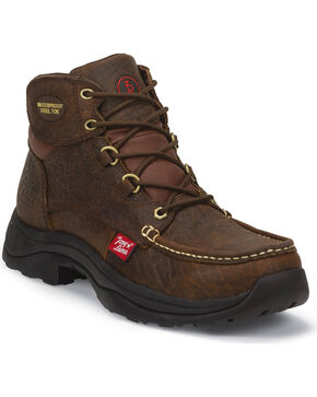 Tony Lama Men's Sierra Badlands 3R Casual Waterproof Steel Toe Work Boots, Brown, hi-res
