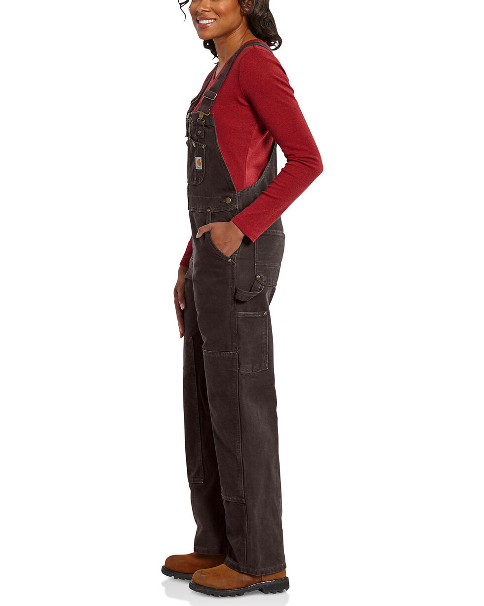 Carhartt Women's Sandstone Unlined Bib Overalls, Dark Brown, hi-res