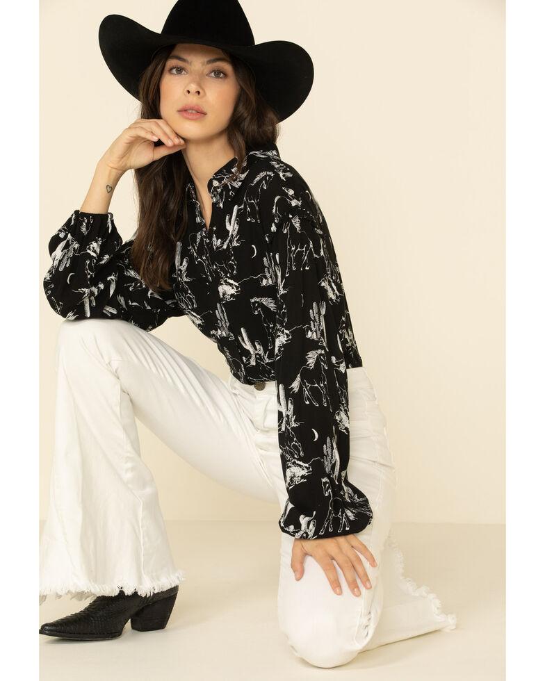 Wrangler Women's Black Horse Print Long Sleeve Western Shirt , Black, hi-res