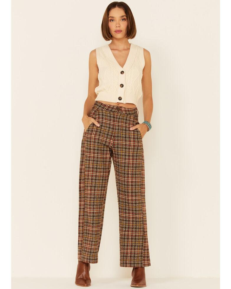 Free People Women's Shape Up Plaid Trouser Pant , Multi, hi-res