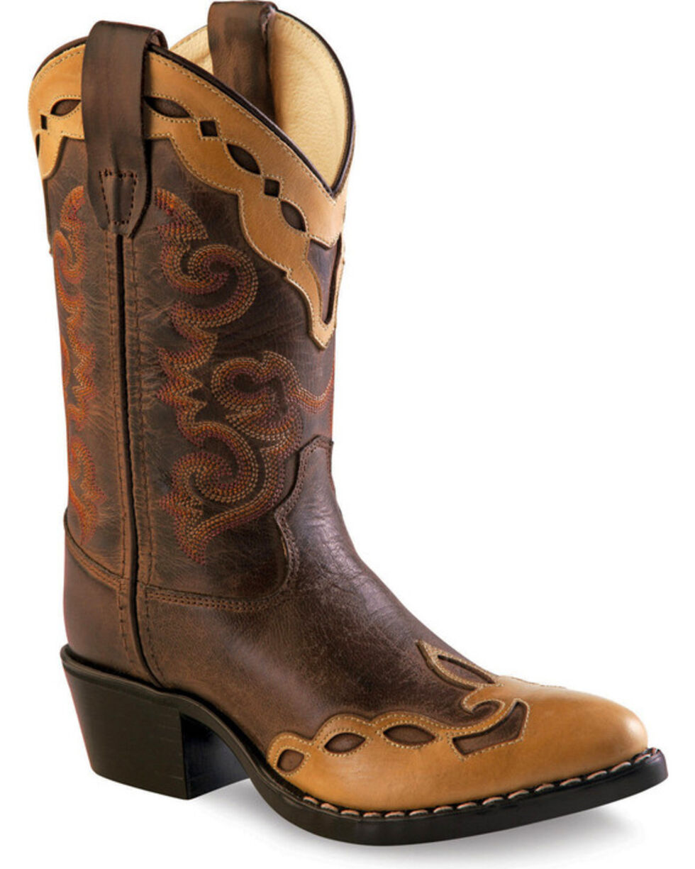 Old West Boys' Brown Fashion Overlay Western Boots - Medium Toe , Brown, hi-res